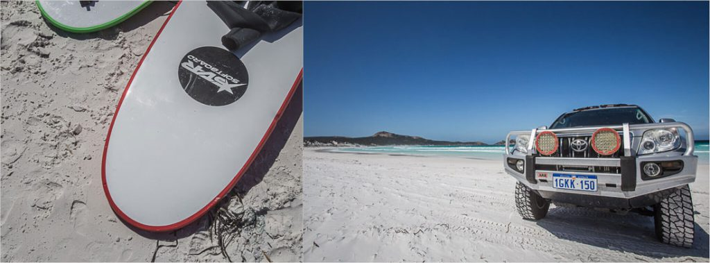 Surfbrett und Strand in Australien